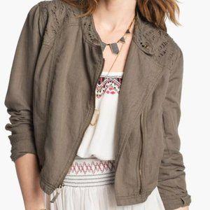 Free People Cutwork Linen Blend Jacket